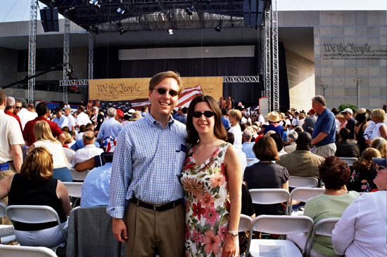 Jonathan and Leslie Bari, The Constitutional Walking Toul, at the Grand Opening Dedication Ceremony for the National Constitution Center - July 4, 2003